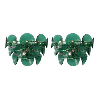 Mid 20th Century Vintage Green Trumpets Sconces by Fabio Ltd - a Pair For Sale