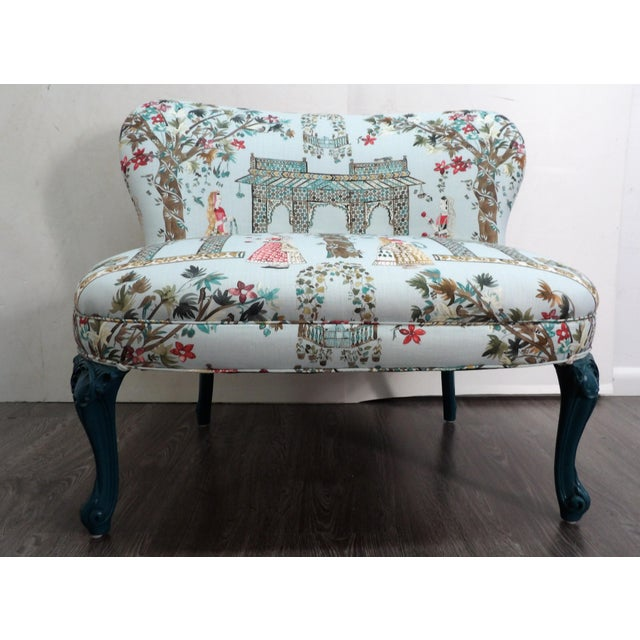 Mid 20th Century Vintage Pavilion Garden Fabric Settee For Sale - Image 5 of 5