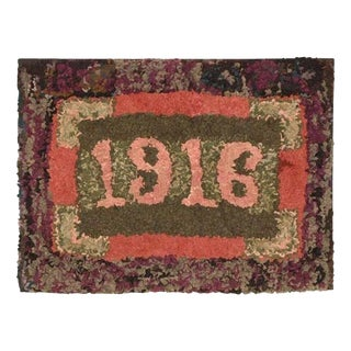 Folky Dated 1916 Mounted Hand-Hooked/ Shirred Rug For Sale