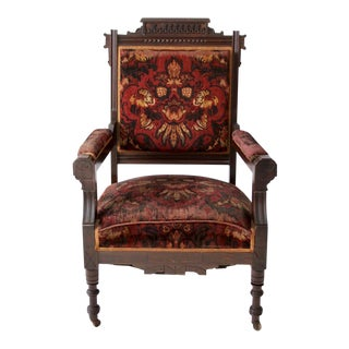 Antique Upholstered Arm Chair For Sale