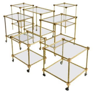 Outstanding Set of Seven Brass Carts For Sale