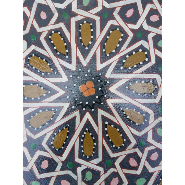 2010s Moroccan Hexagonal Hand Painted Wooden End Table For Sale - Image 5 of 7