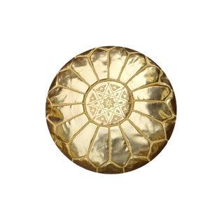 Gold Modern Moroccan Pouf Ottoman For Sale