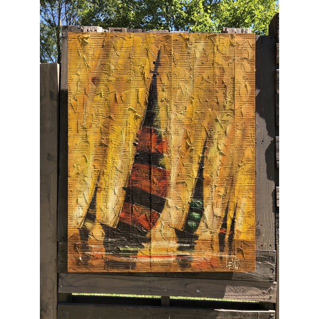 Mid 20th Century Mid-Century Regatta Painting on Plank Boards For Sale - Image 5 of 7