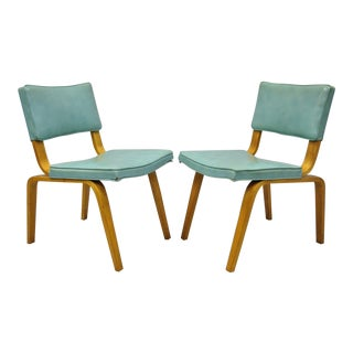 Vintage Thonet Bentwood Aqua Blue Vinyl Dining Side Chairs - a Pair For Sale
