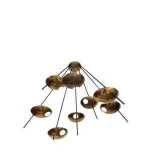 Large Brass Italian Starburst Stilnovo Style Chandelier For Sale