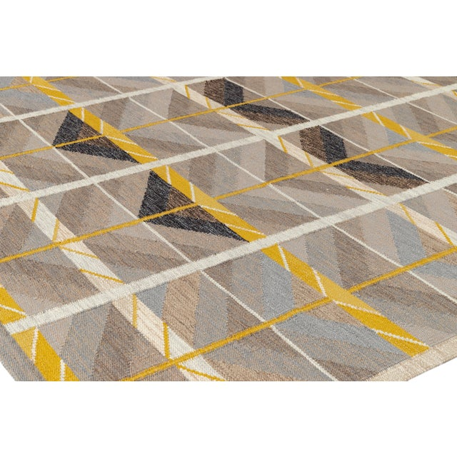 Tan 21st Century Modern Scandinavian Style Flat-Weave Rug For Sale - Image 8 of 12