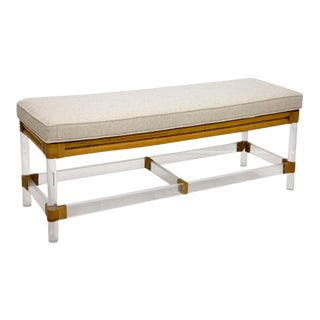 1970's Lucite and Bamboo Bench