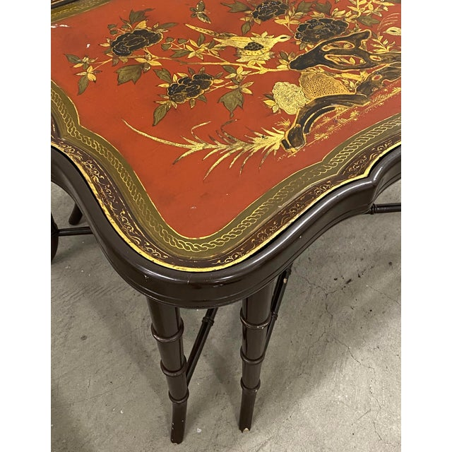 Chinoiserie 19th Century Papier Mache English Chinoiserie Tray Table For Sale - Image 3 of 9