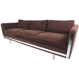 Contemporary Modern Three-Seat Sofa With Chrome Frame For Sale