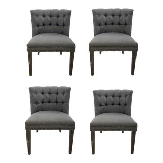 Modern Gray Tufted Linen Barrel Back Dining Chair Set of Four For Sale