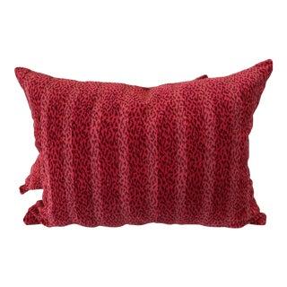 "18""x24"" Leopard Velvet Gros Point Pillows- a Pair"
