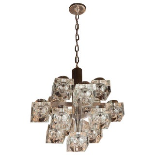 Mid-Century Modern Polished & Brushed Chrome & Cube Glass Chandelier by Sciolari
