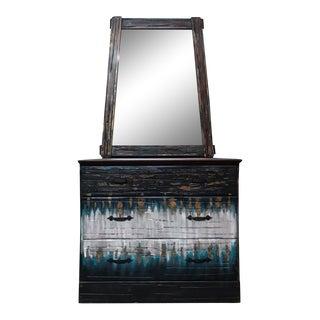 Modern Southwestern Dresser & Mirror - A Pair