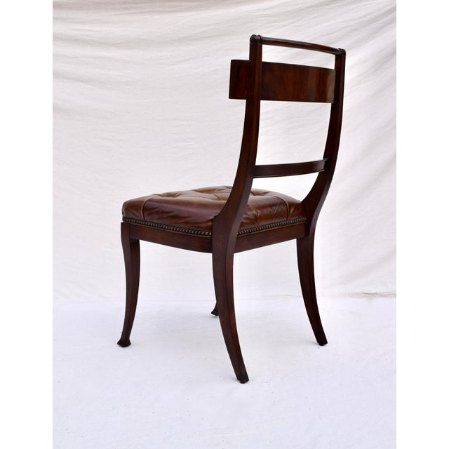 Metal Henredon Hanover Tufted Leather Dining Chairs, Pair For Sale - Image 7 of 13