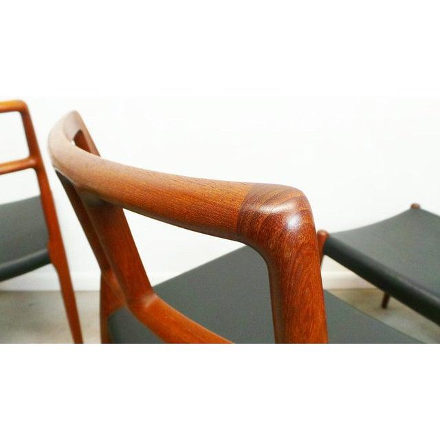 Mid Century Danish Modern Teak J L Moller Model 79 Black Leather Dining Chairs 6 Pieces