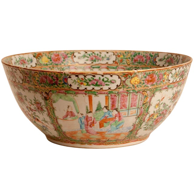 19th Century Chinese Rose Medallion Punch Bowl For Sale