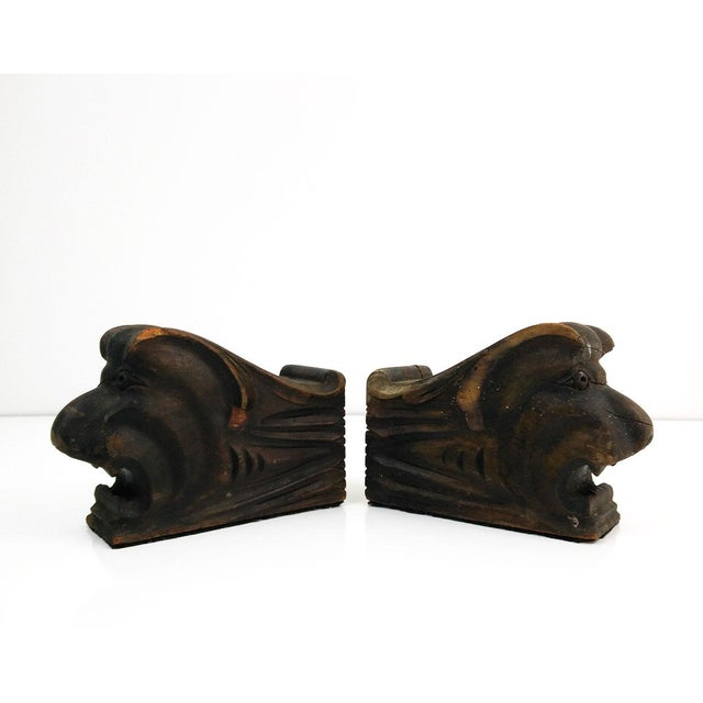 Vintage Architectural Wood Corbel Bookends - a Pair - Image 2 of 6