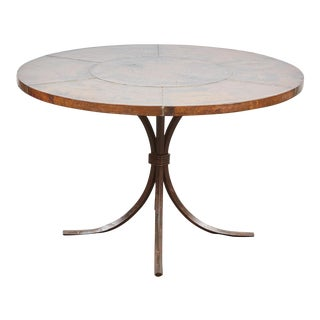 20th Century Indian Copper Top Table with Seams and 4 Iron Legs For Sale