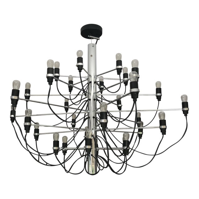 Flos 2097 Modern Mid Century Chandelier by Sarfatti Chrome 30 Mint Condition For Sale