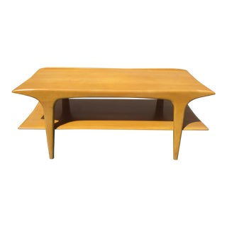 1950s Mid Century Modern Heywood Wakefield 2 Tier Coffee Table For Sale