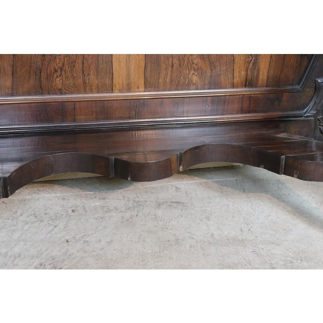 Brown 19th Century Italian Louis Philippe Rosewood Carved Marble-Top Console Table For Sale - Image 8 of 12