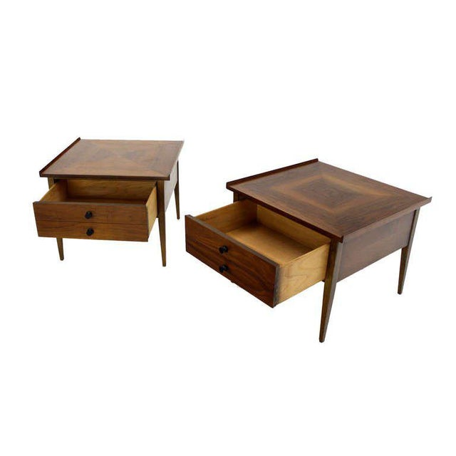 Brown Pair of Danish Mid-Century Modern Walnut End Tables For Sale - Image 8 of 8