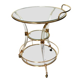 1970s Hollywood Regency Romeo Rega Tripode Bar Cart For Sale