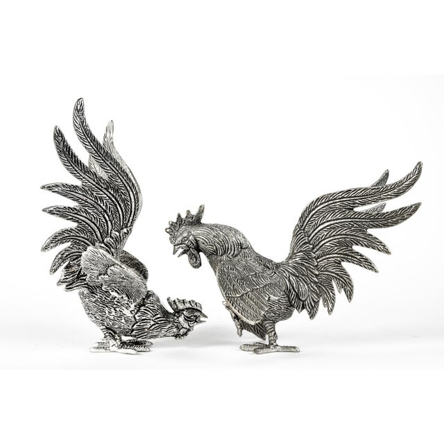 Metal Pair of English Silver Plate Roosters For Sale - Image 7 of 8