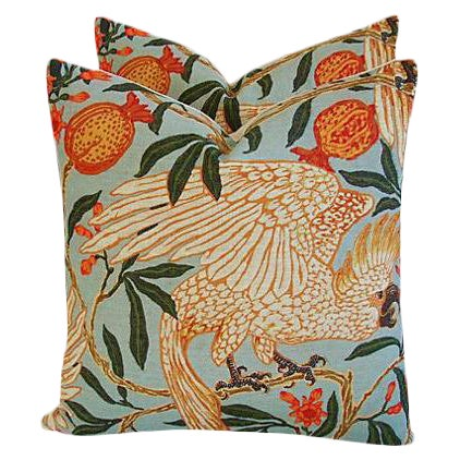 "20"" Colorful Tropical Parrot & Pomegranate Feather/Down Pillows - Pair - Image 8 of 8"