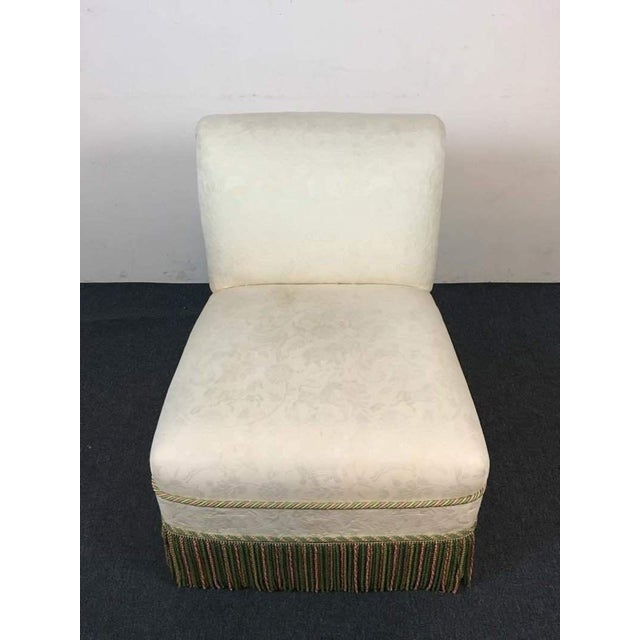 Contemporary French Rococo Style White Upholstered Slipper Chair - Image 3 of 9