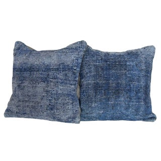1970s Mediterranean Distressed Blue Hand-Knotted Rug Pillows - a Pair