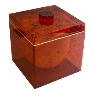 1960s Mid-Century Vintage Faux Tortoise Lucite Ice Bucket For Sale