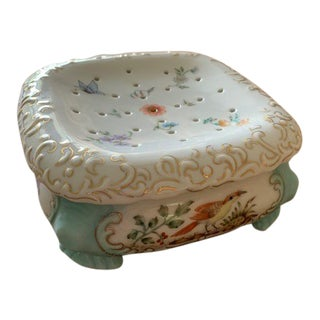 Hand Painted Porcelain Soap Dish For Sale