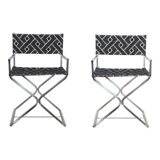 Vintage Re-Reupholstered Chrome Directors Chairs - A Pair For Sale