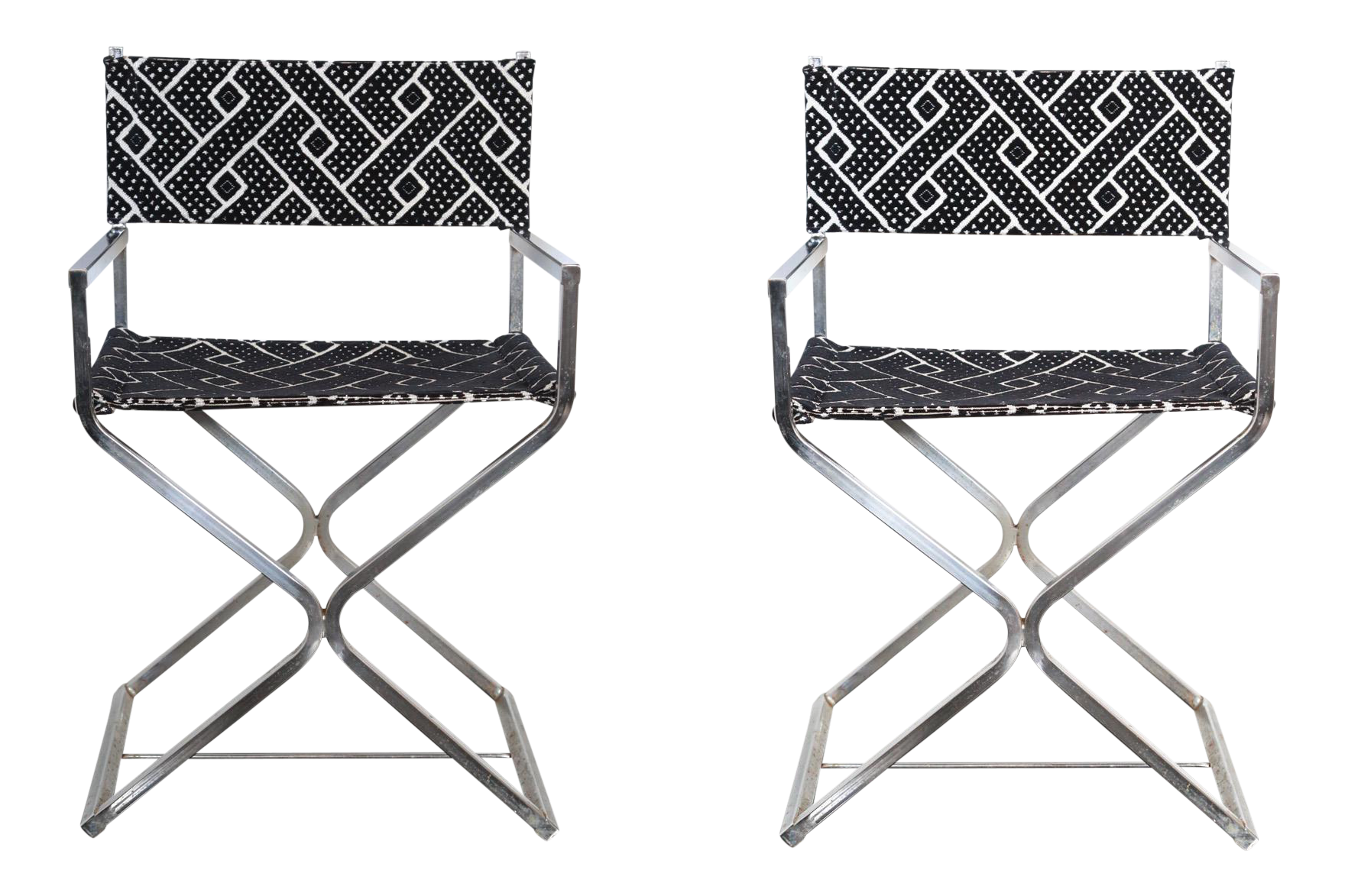 Vintage Re-Reupholstered Chrome Directors Chairs - A Pair  sc 1 st  Chairish & Vintage Re-Reupholstered Chrome Directors Chairs - A Pair | Chairish