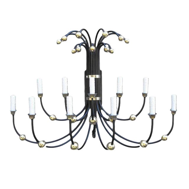 Mid-Century Large Wall Sconce With Brass Accents For Sale