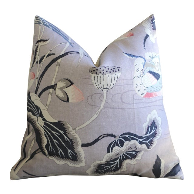 Lilac Lotus Garden Schumacher Pillow Cover For Sale