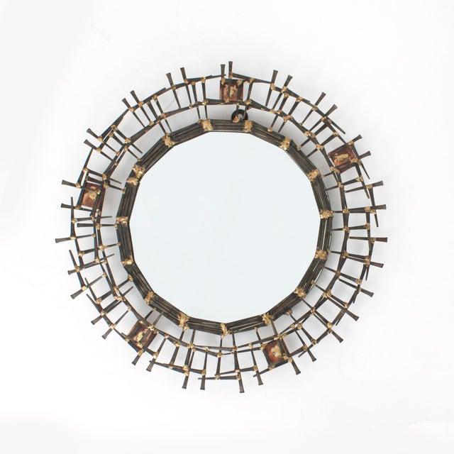 1970s 1970s Brutalist Nailhead Sunburst Mirror For Sale - Image 5 of 5
