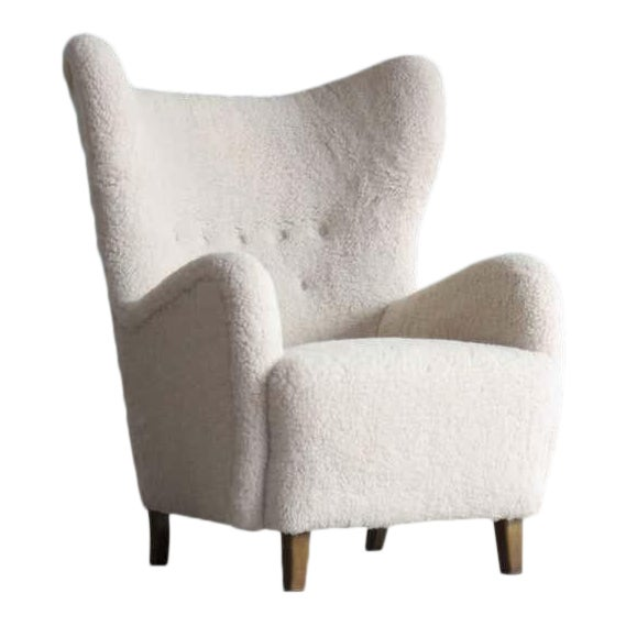 High Back Lounge Chair in Lambswool Danish 1940's Attributed to Flemming Lassen For Sale