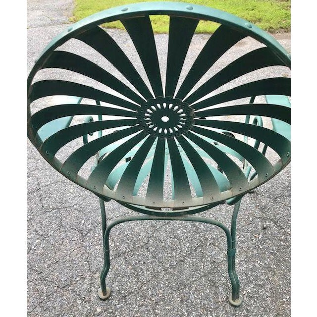 Metal Francois Carre Style French Sunburst Spring Steel Deauville Garden Chairs - A Pair For Sale - Image 7 of 12