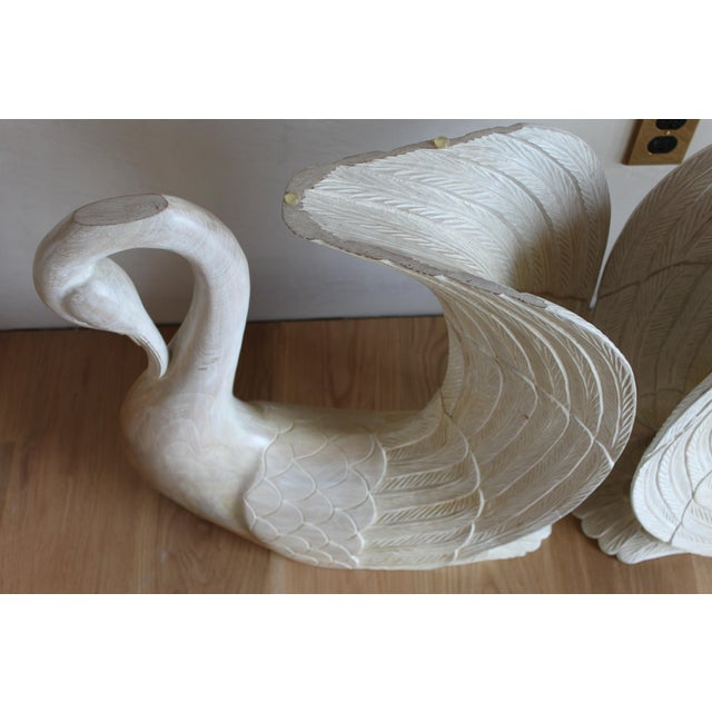 Vintage Hand Carved Solid Wood Twin Swan Console Table or End Table/Bar Table Bases - a Pair For Sale In San Diego - Image 6 of 10