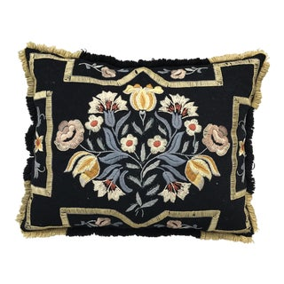 Vintage Floral Embroidered Pillow