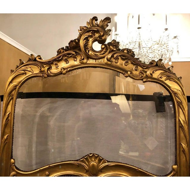 19th Century Louis Xv, Giltwood Three Fold Screen With Original Glass Panels For Sale - Image 10 of 13