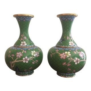 Green Cloisonne Vases - A Pair