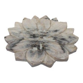 Carved White Marble Lotus Flower Plate