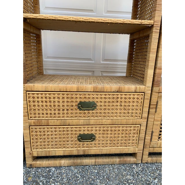 1970's Bielecky Style Rattan and Brass Bookshelves-Set of 3 For Sale In New York - Image 6 of 13