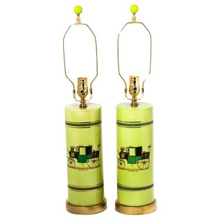 Coaching Cylindrical Table Lamps - A Pair For Sale