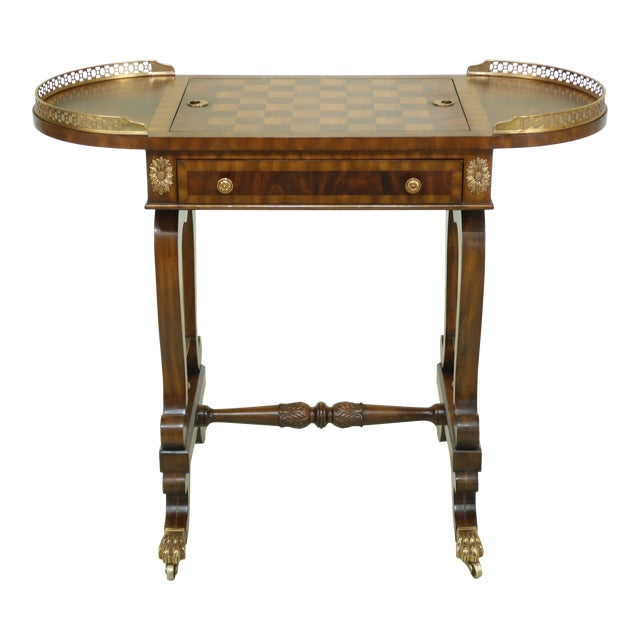 Maitland Smith Checkerboard Reversible Top Mahogany Games Table For Sale