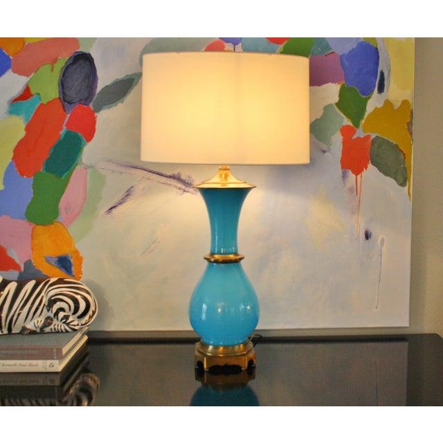 Vintage Murano Opaline Blue Lamp - Image 3 of 11